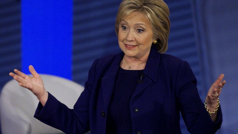Hillary Clinton donderdag in de townhall-discussie in New Hampshire. Beeld Reuters