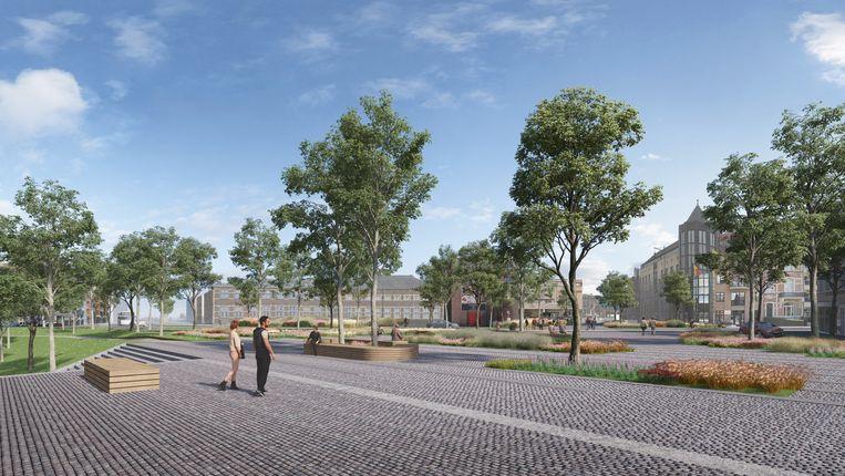 Het oversteekplein van en naar de binnenstad wordt één grote vlakte, waarbij een rij bomen de link moet aangeven tussen de Kanaalkom en de binnenstad