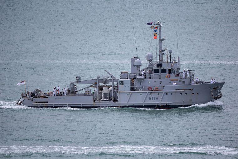De Manawanui in de tijd dat het schip nog dienst deed als marinevaartuig.