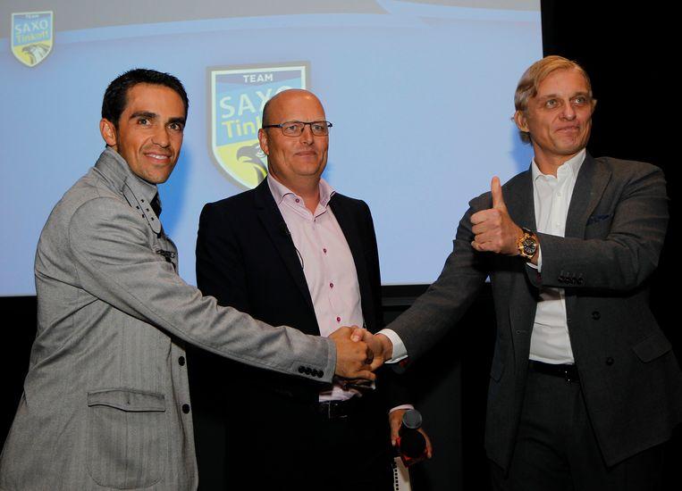 Toen alles nog koek en ei was: in 2013 werd Oleg Tinkov de patron van de ploeg van teammanager Bjarne Riis en toprenner Alberto Contador