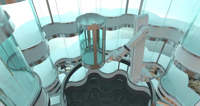 Impressie van de robotarm-lift, de nieuwste uitvinding waarmee Lift-Emotion uit Meppel de markt van exclusieve liften bestormt.