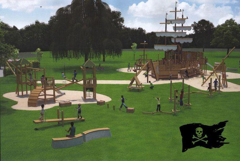 Een toekomstbeeld van de piratenspeeltuin.