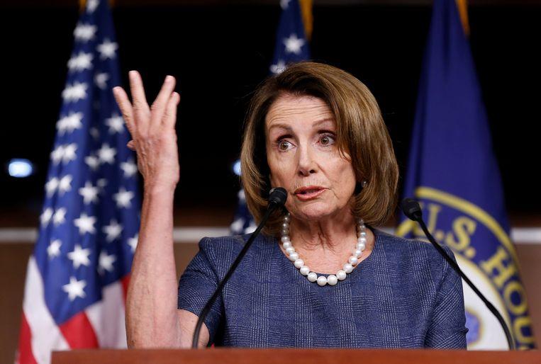 Nancy Pelosi, partijleider van de Democraten in het Huis van Afgevaardigden. Beeld REUTERS