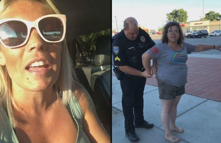 Links: Danielle Reno. Rechts: de dievegge die in de boeien geslagen wordt.