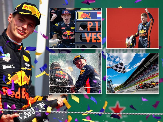 Max Verstappen bij zijn vijf GP-overwinningen.