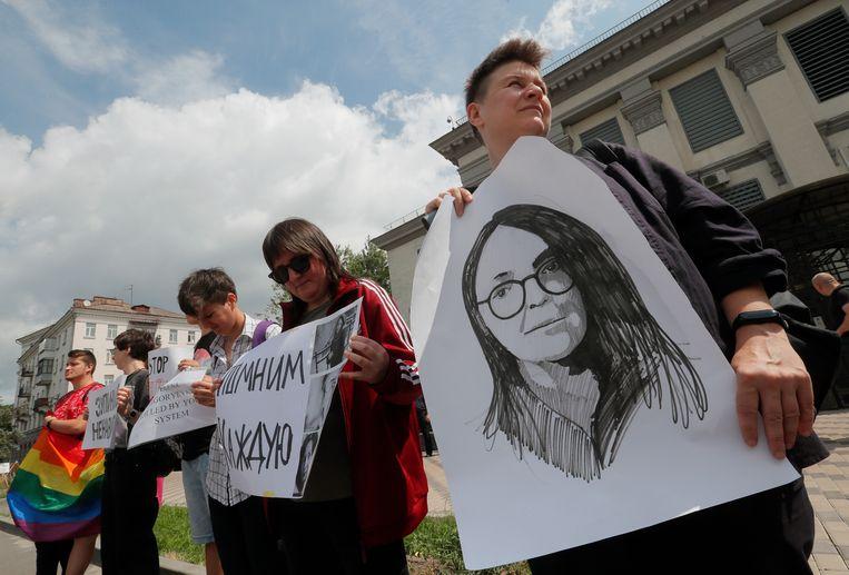 Oekraïense lgbt-medestanders van Jelena Grigorjeva hielden gisteren voor de Russische ambassade in hoofdstad Kiev een demonstratie.