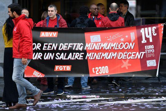 Actie van vakbond ABVV voor een hoger minimumloon eerder deze maand.