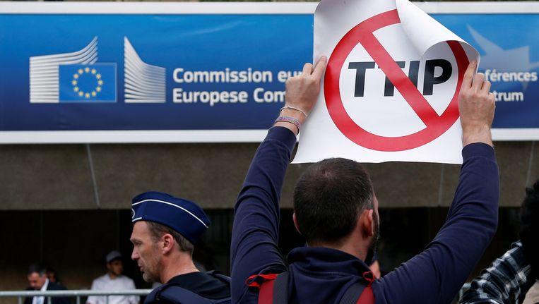 Een betoger demonstreert tegen het vrijhandelsakkoord TTIP.