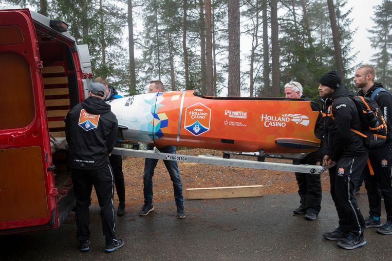 Het Nederlandse bobsleeteam tijdens een training in het Noorse Lillehammer, oktober 2017. Beeld ANP