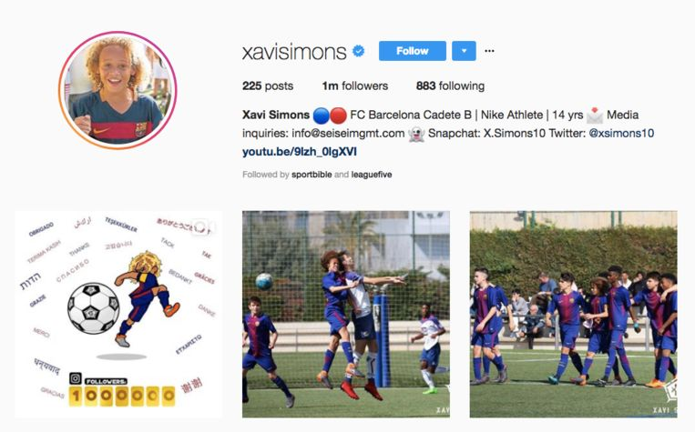 Simons rondde deze week de kaap van de 1 miljoen volgers op Instagram.