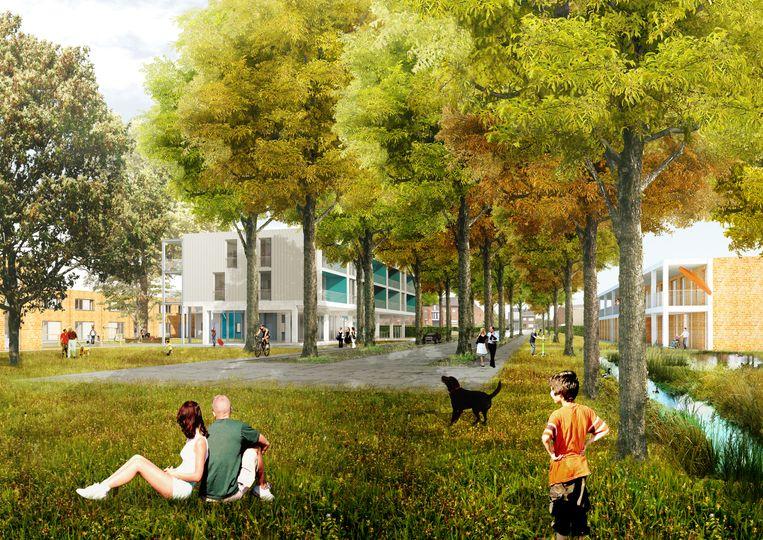 Een toekomstbeeld van de nieuwe woonwijk.