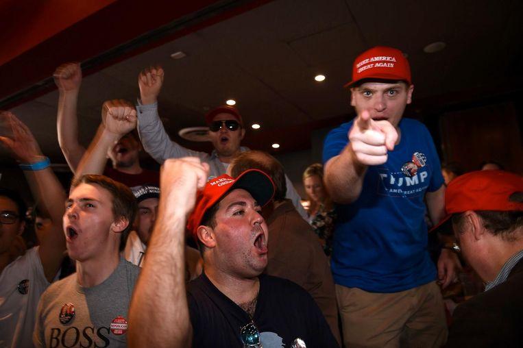 Trump-aanhangers vieren feest. Beeld anp