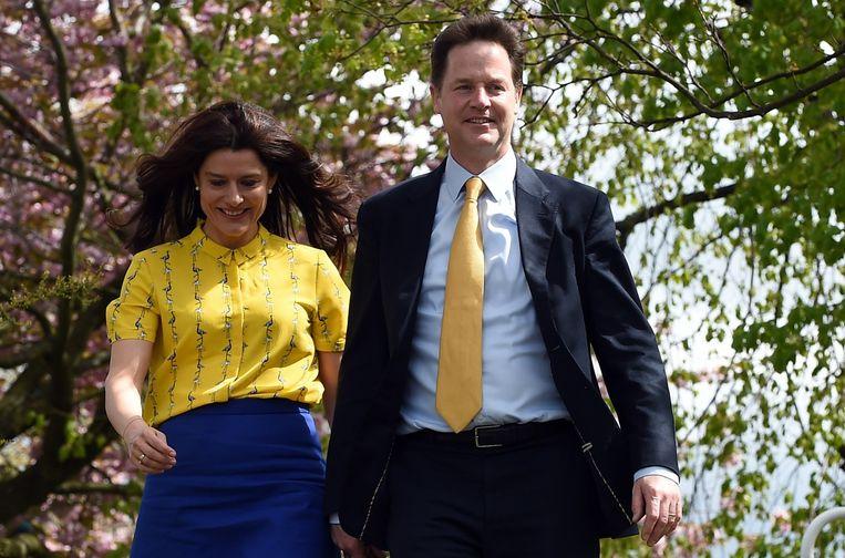 Nick Clegg en zijn vrouw. Beeld EPA