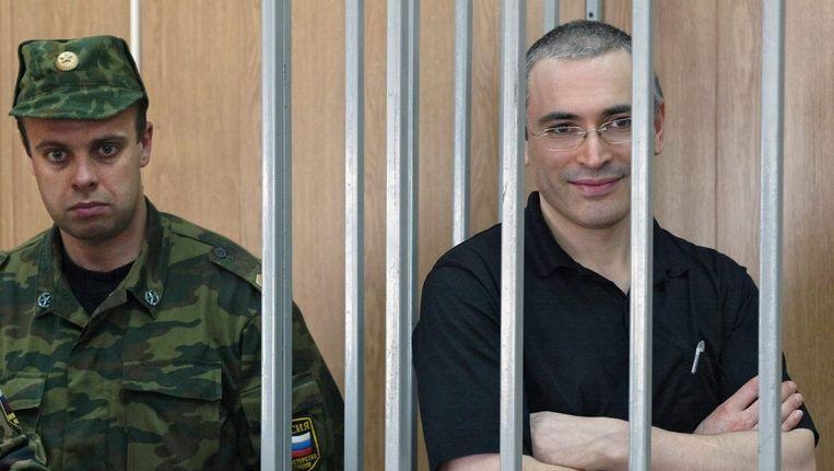 Michail Chodorkovski in een Russische cel in 2004 Beeld ANP