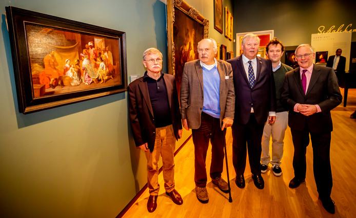 De familie Hoogstraten bij het schilderij van Dirk.