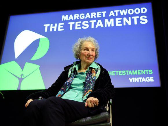 De Canadese auteur Margaret Atwood bij de presentatie van haar boek in Londen.