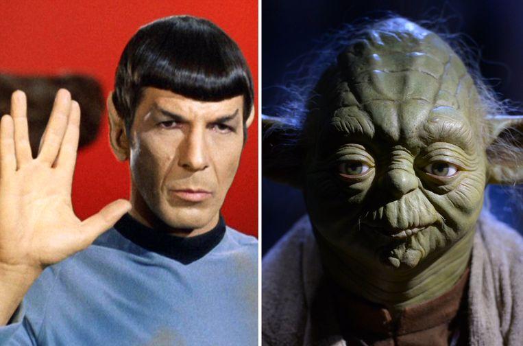 Spock (L), het personage uit de televisieserie Star Trek en Yoda (R) van de Star Wars-saga.
