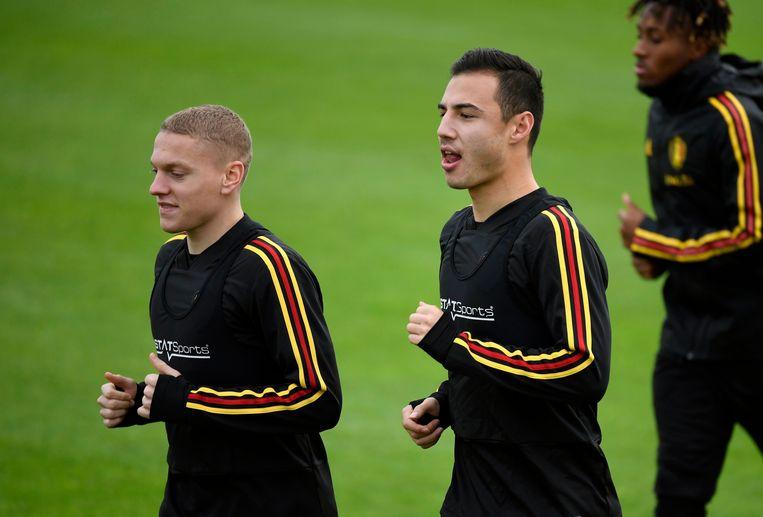 Casper De Norre (l) en Dion Cools op training bij de Jonge Duivels.