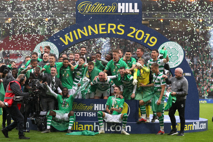 Celtic celebrate winning the William Hill Scottish Cup Final during the William Hill Scottish Cup Final at Hampden Park, Glasgow.