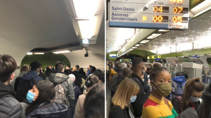 Une station de métro particulièrement bondée à Paris, ce lundi matin.