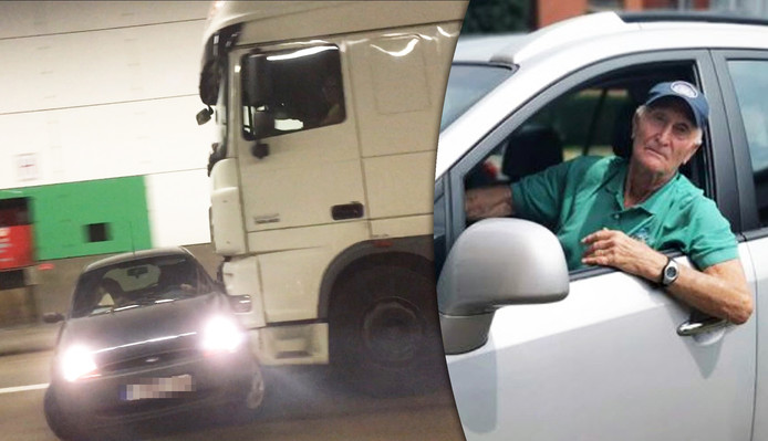 Plusieurs usagers de la route ont tenté d'alerter le conducteur du camion, en vain. Jusqu'à ce que Rik Voorhelst, 88 ans, n'arrive à hauteur du camion.
