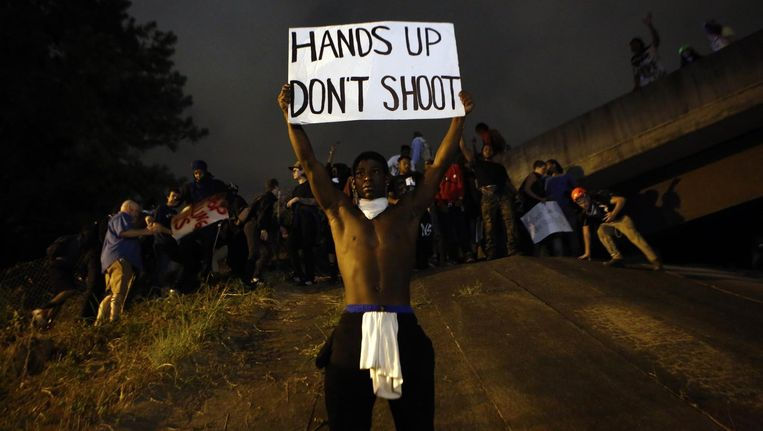 Demonstranten in Charlotte. Beeld null