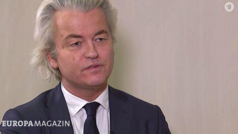 Geert Wilders tijdens het interview met de Duitse tv. Beeld