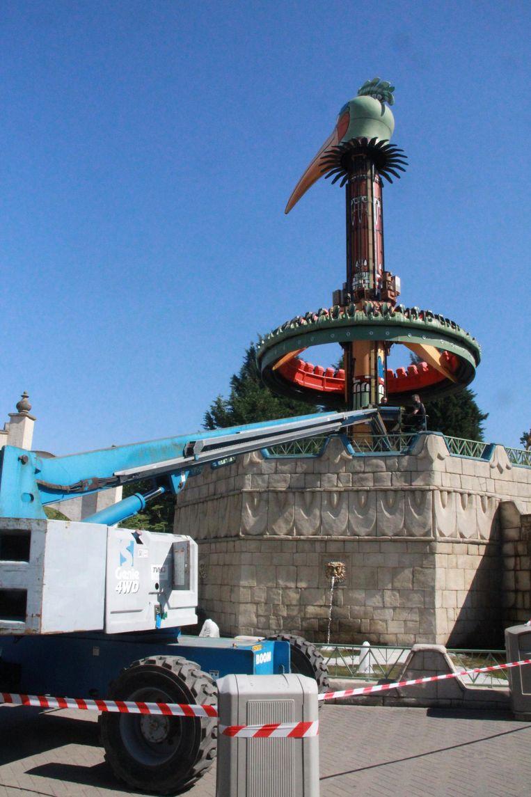 Attractie El Volador in Bellewaerde is vandaag terug open voor het publiek na de panne van zondag.