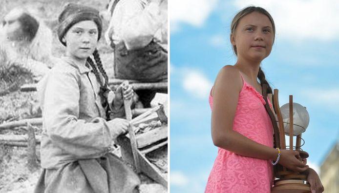 """À gauche, la """"voyageuse"""" chercheuse d'or et à droite, la vraie Greta Thunberg."""