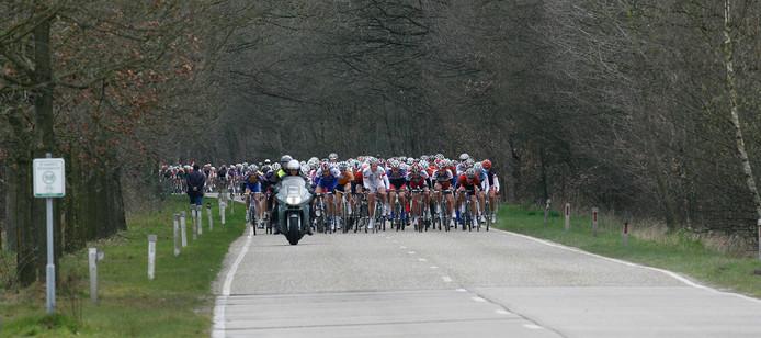 Een motor vlak voor het peloton op de provinciale weg in Someren.