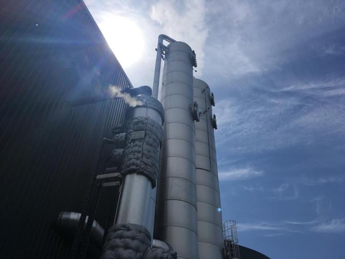 De achterkant van de biomassacentrale van DES