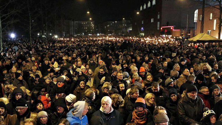 De herdenking voor de aanslagen in Kopenhagen. Beeld epa