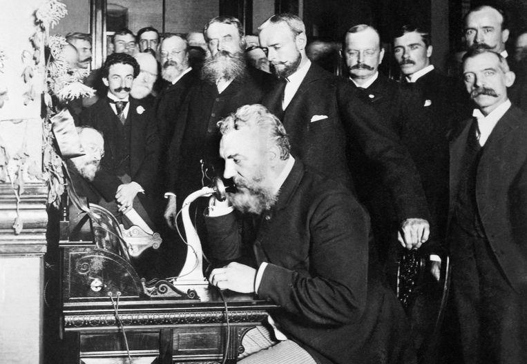 Alexander Graham Bell belt in New York voor het eerst naar Chicago. Beeld Getty Images