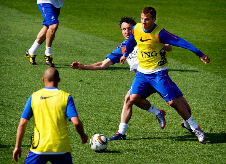 Rafael van der Vaart op de training van Oranje in 2010. Beeld ANP