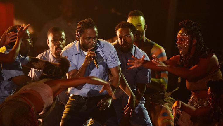 Kendrick Lamar tijdens de Grammy's Beeld anp