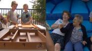 Op rusthuiskamp in Heusden-Zolder: kinderen bij de sjoelbak, ouderen in het springkasteel