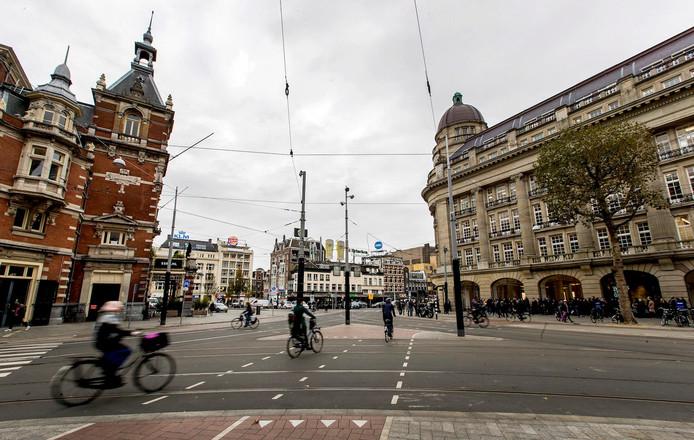 Het stadshart moet zoveel mogelijk autovrij worden, zoals hier op het Leidseplein.