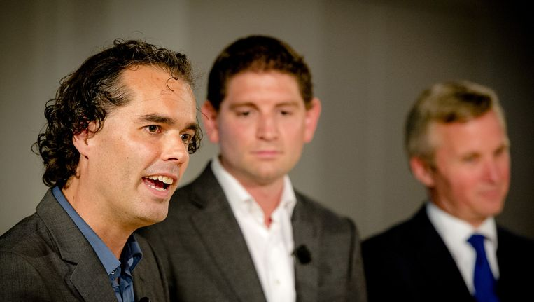 Vlnr: Laurens Ivens (SP), Jan Paternotte (D66) en Eric van der Burg (VVD) Beeld ANP