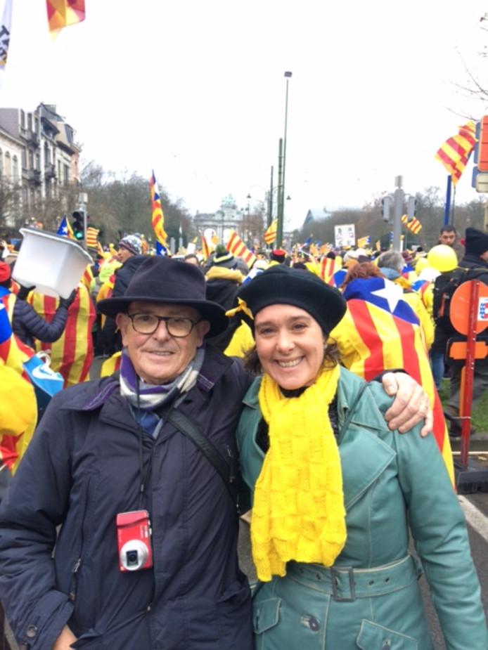Catalaans protest in Brussel, met Jaime Prat i Ramon en zijn dochter Laura.