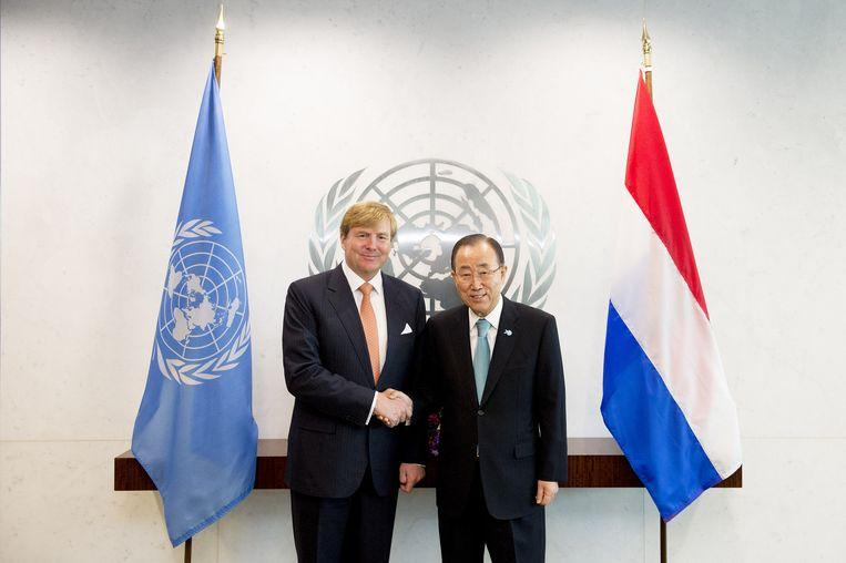 Secretaris-generaal Ban Ki-moon en koning Willem Alexander Beeld anp