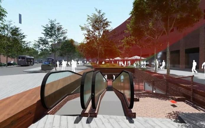 De fietsenstalling is vanaf het Stationsplein straks te bereiken via een rolband