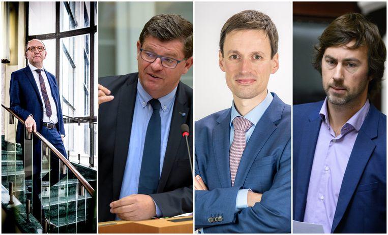 Vlnr. Johan Vande Lanotte (Stadslijst), Bart Tommelein (Open Vld), Björn Anseeuw (N-VA) en Wouter De Vriendt (Groen).