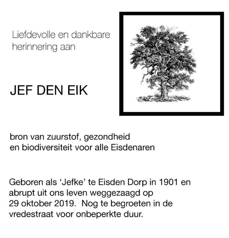Pamflet herdenking Jef Den Eik.