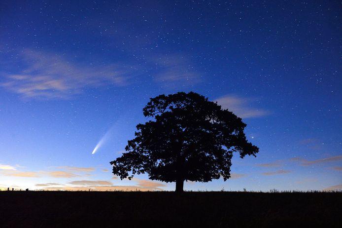 La comète vue d'un village dans le Leicestershire, au Royaume-Uni, ce 13 juillet.