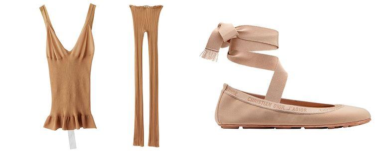 Abrikoosroze top en legging € 300 en € 320 van Acne Studios Ballerina's van Dior € 520 Beeld