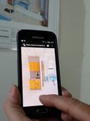Met een applicatie op de mobiele telefoon konden bezoekers aan de bouwplaats van het Saxenburgh Medisch Centrum bekijken hoe de toekomstige indeling er uitziet.