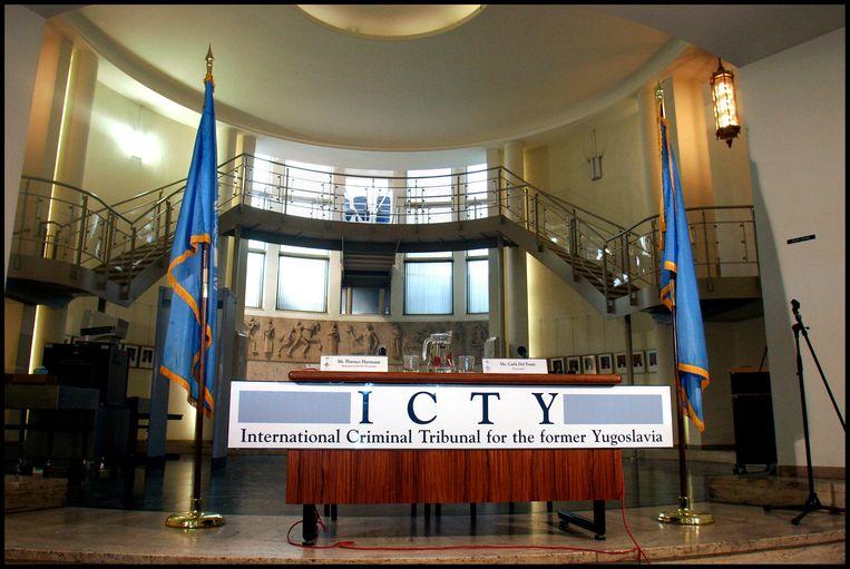 De hal van het Joegoslavië tribunaal. Beeld Hartman, Maarten