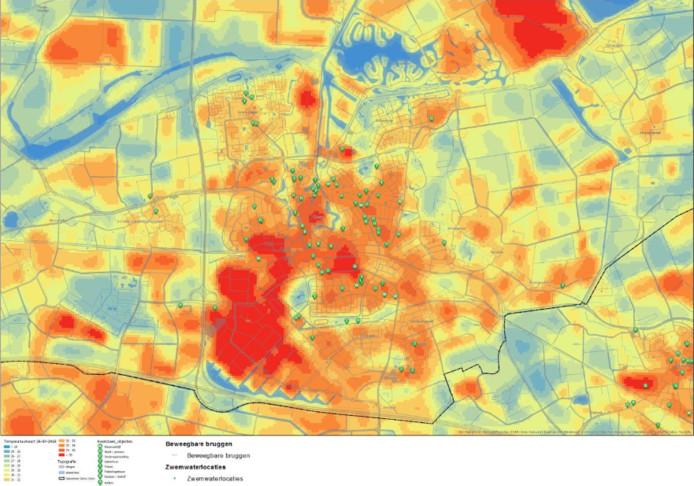 Hittebeeld van Goes, gemeten op 26 juli 2018. De grote rode vlek linksonder is bedrijventerrein De Poel. De groene stippen zijn 'kwetsbare objecten', zoals ziekenhuizen, zorgcentra en scholen.