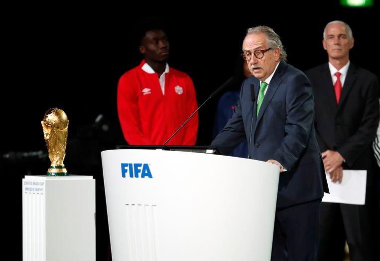 De Mexicaanse bondsvoorzitter, Decio de Maria, nam het woord tijdens het FIFA-congres.