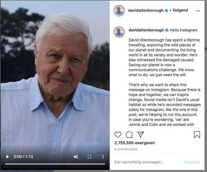David Attenborough compte déjà plus d'un million et demi d'abonnés.